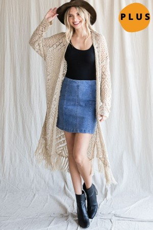 ESW1051P<br/>SOFT KNIT CARDIGAN WITH FRINGES