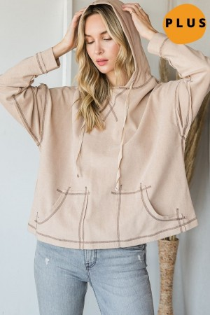 ET1068P<br/>TERRY CLOTH HOODIE WITH STITCH DETAILS